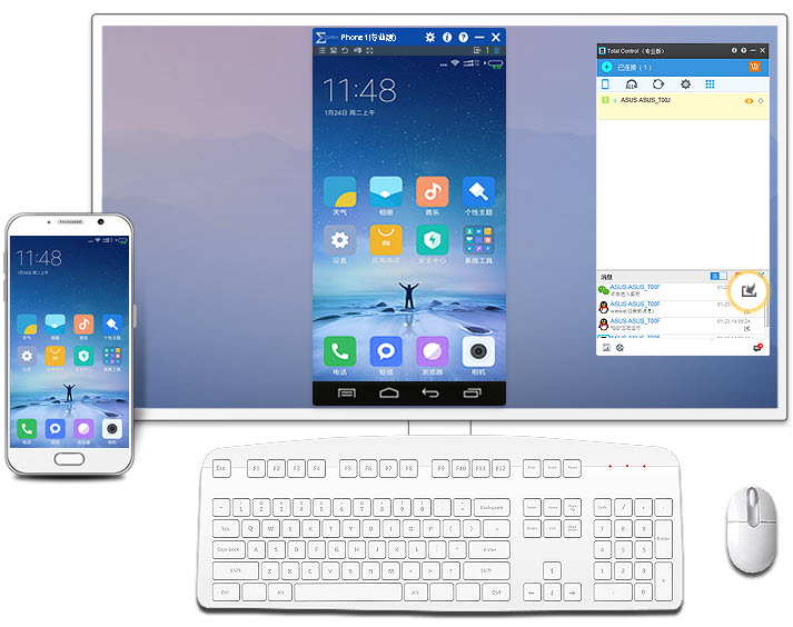 mirror android phone screen to pc, computer to control mobile phone  using total control
