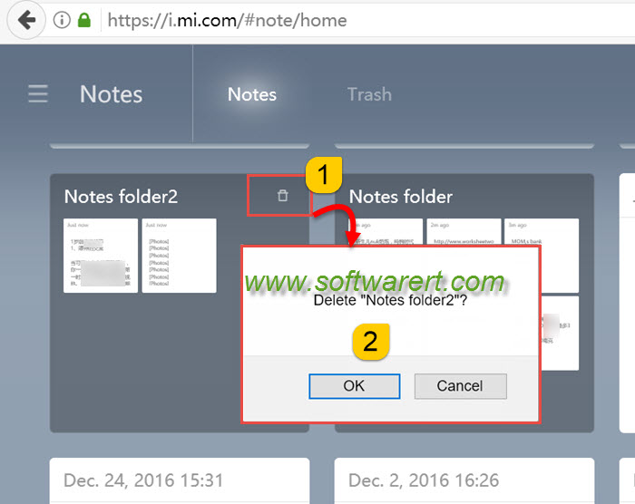 How to delete multiple notes in Mi cloud?