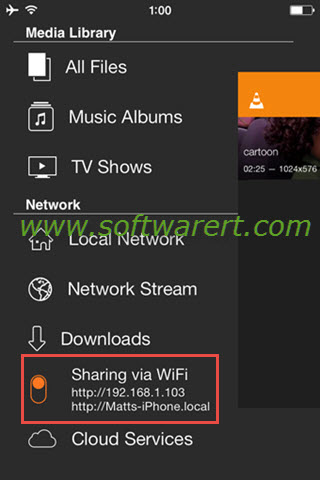 vlc iphone wifi sharing and transfer