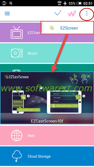 activate cast screen in ezcast on android