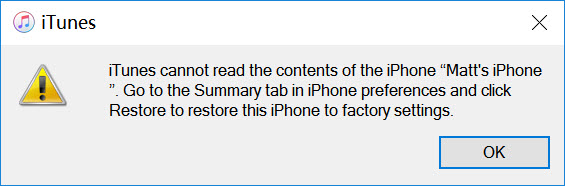 itunes cannot read contents of iphone error on pc