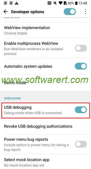turn on USB debugging on LG mobile phones