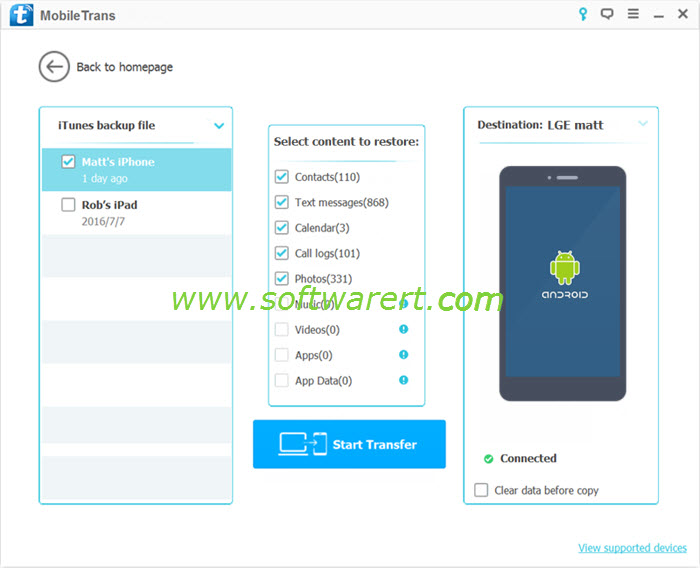 restore itunes iphone backup to lg phone using mobile transfer