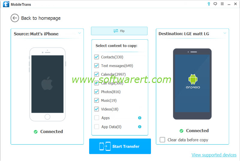 transfer data from iphone to lg phone using mobile transfer