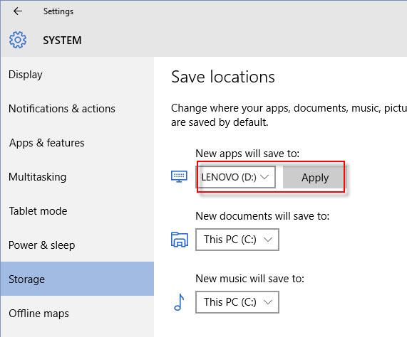 change microsoft app store install location on windows 10 pc