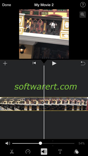 change video volume in imovie on iphone