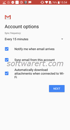 email account options in gmail app for android