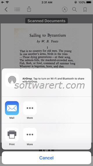 send pdf documents through email from ibooks app on iphone