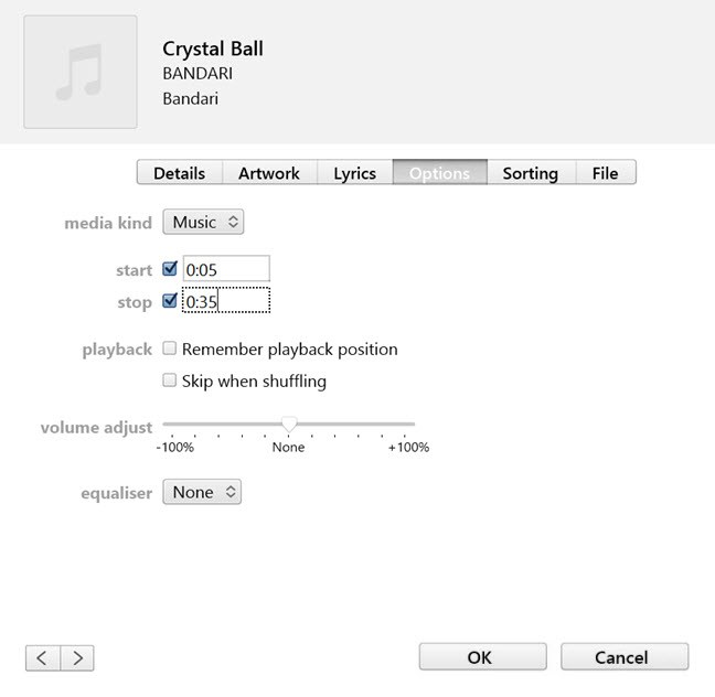 set music playback positions in itunes on pc