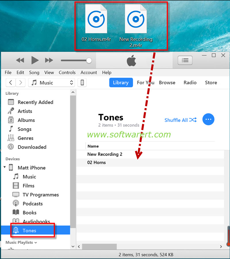 sync custom ringtones, text tones from pc to iphone using itunes