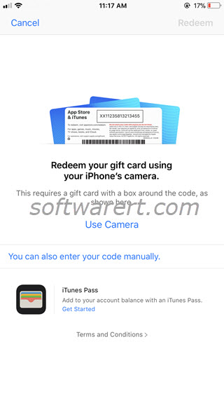 redeem gift cards codes on iphone