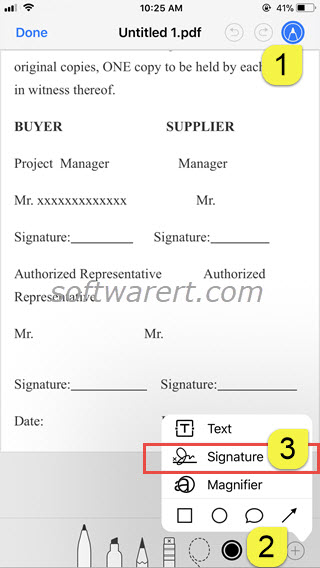 sign pdf documents on iphone using markup signature tool