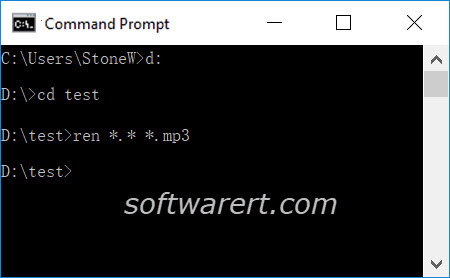 batch change file extensions in windows 10 via command prompt