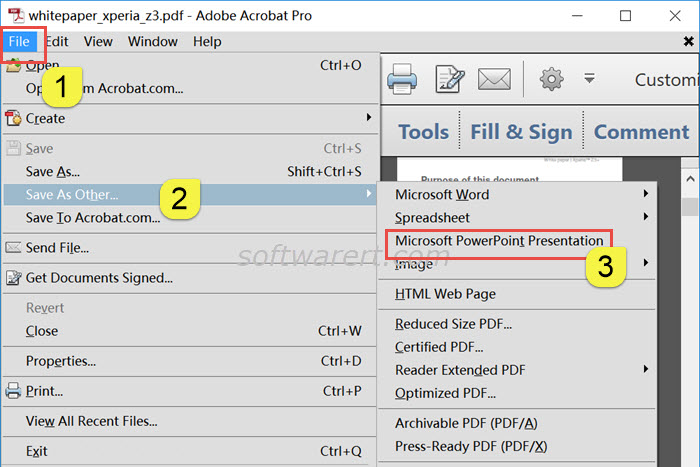 convert pdf to microsoft powerpoint presentation using adobe acrobat pro on windows pc