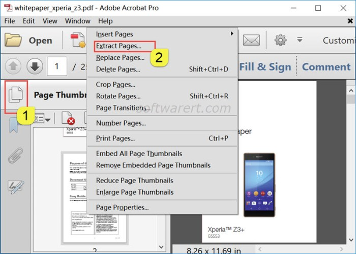 extract pages from pdf file using acrobat pro on windows computer