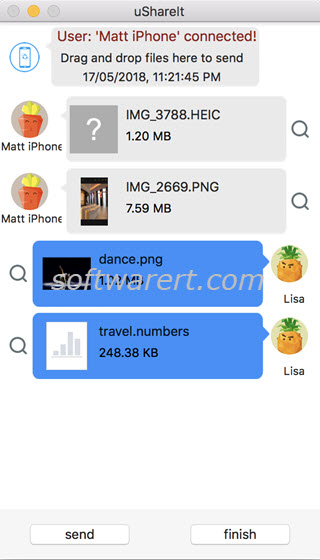 Transfer files between Mac and iPhone using ShareIt
