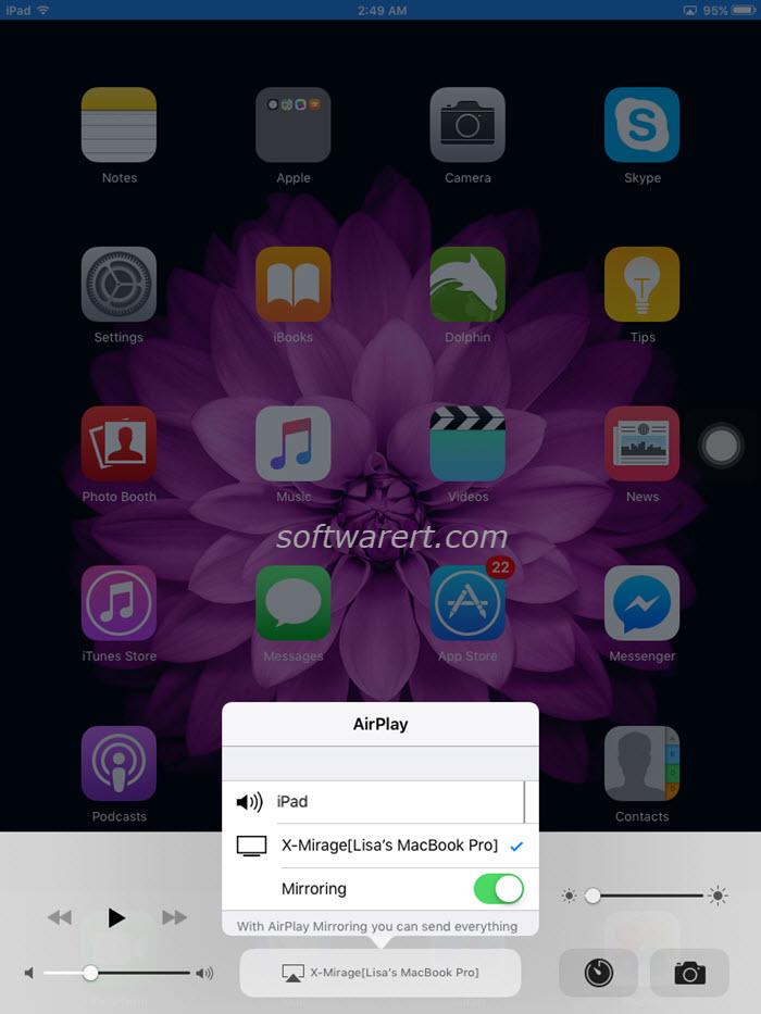 mirror ipad to macbook pro via airplay and xmirage
