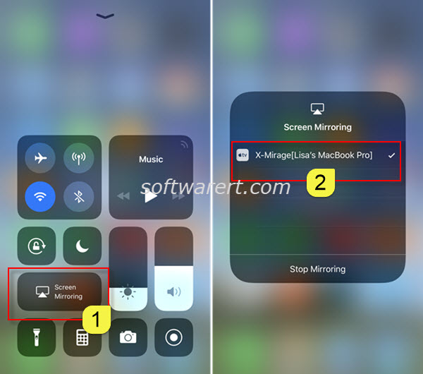 mirror iphone to macbook pro via xmirage