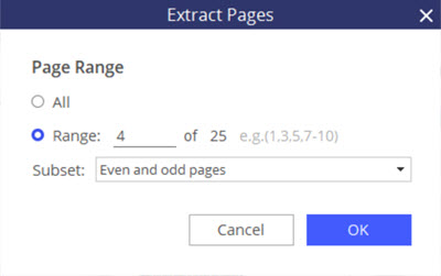 select pages to extract from pdf using pdf element for windows