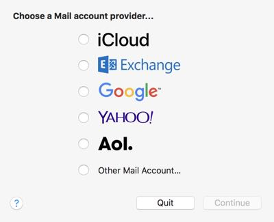 choose mail account provider in apple mail app on mac