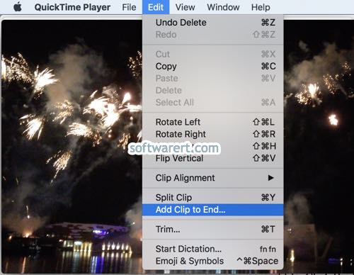 quicktime player for Mac to add extra clip to the end of current video clip