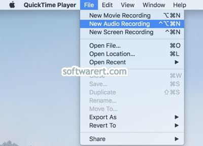 quicktime player for Mac create new audio recording file