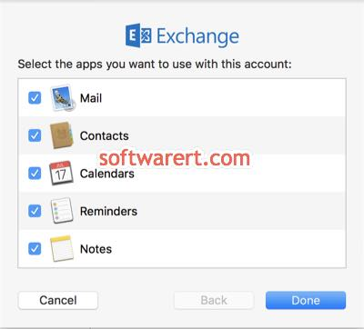 select apps to sync data from exchange server in mail app on mac