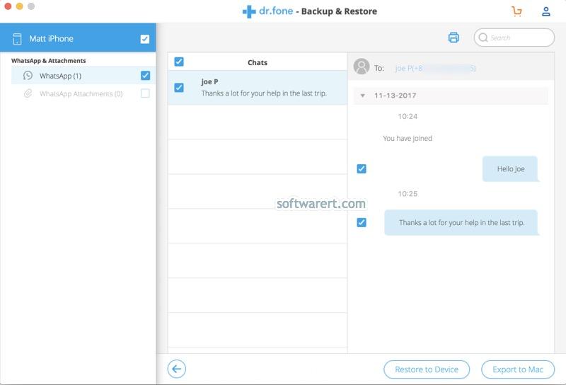 view, export, restore iphone whatsapp chat history backup on Mac dcfon