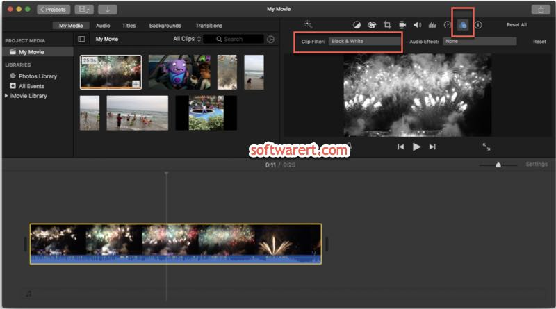 Convert videos to black and white in iMovie on Mac