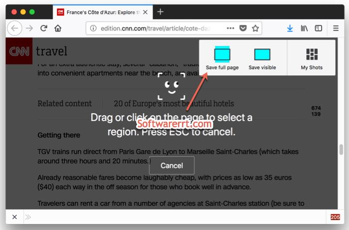 capture full page screenshot firefox web browser on mac