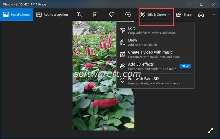 photos app edit create menu windows 10