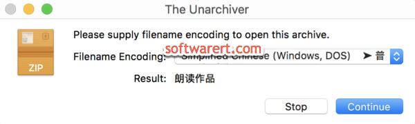 the unarchiver app Mac choose filename encoding