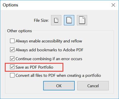adobe acrobat pro dc windows combine files option to save as pdf portfolio