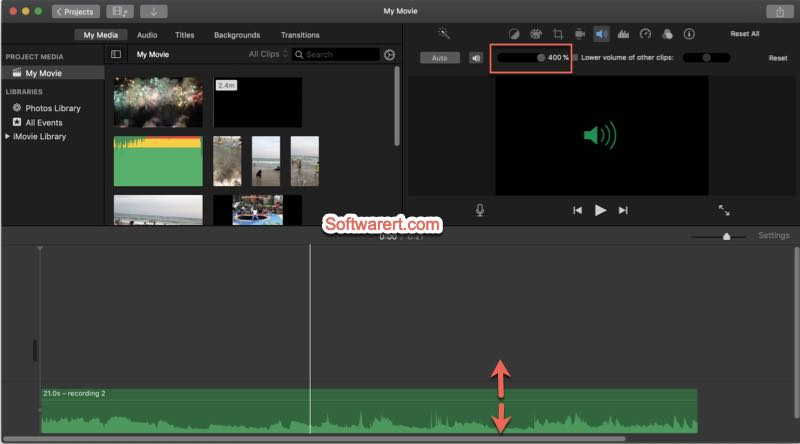 adjust volume of music, audio using imovie on mac
