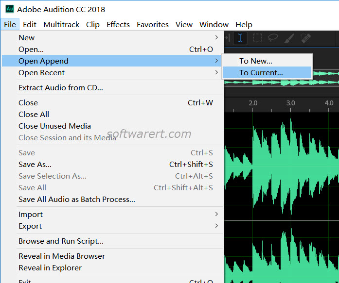 adobe audition cc windows to add file, open append to current file