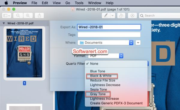 convert color pdf to black white grayscale using preview on mac