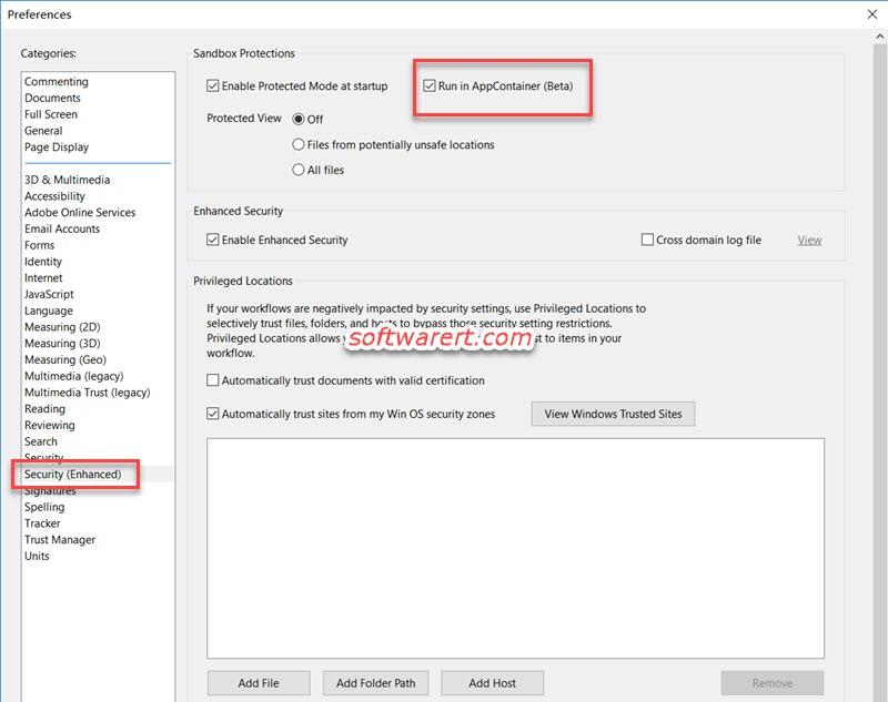 Adobe Acrobat Reader Windows run in AppContainer