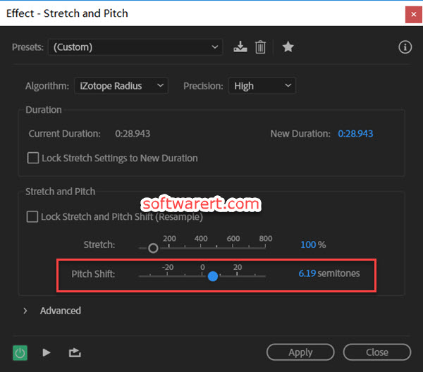 change pitch, raise pitch, lower pitch in Audition for Windows