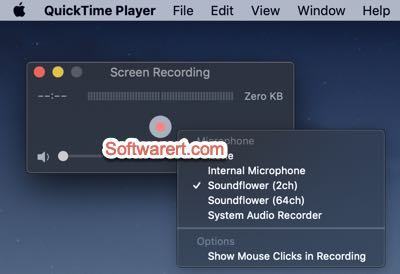 quicktime player record screen and system audio with soundflower on mac