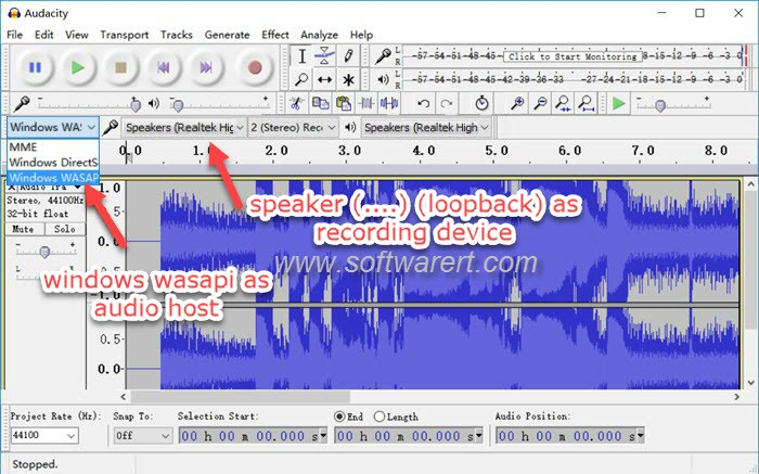 record system audio, streaming music, internet radio using Audacity for Windows