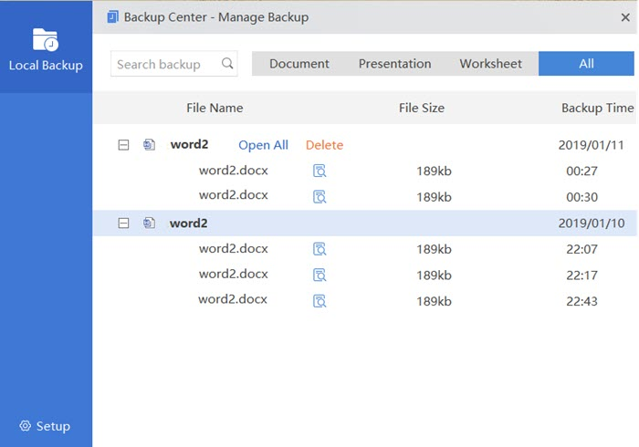 WPS Office backup center, manage backups on Windows PC