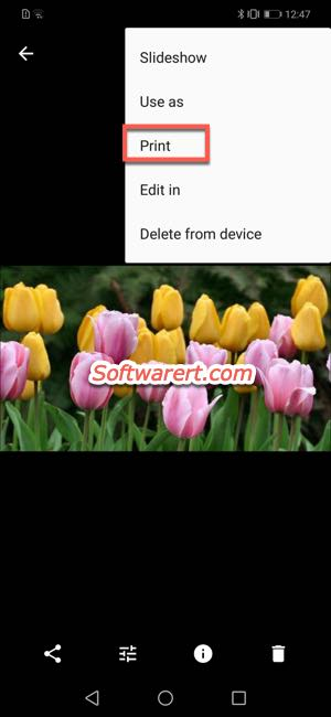 google photos print image to PDF on Huawei mobile phone