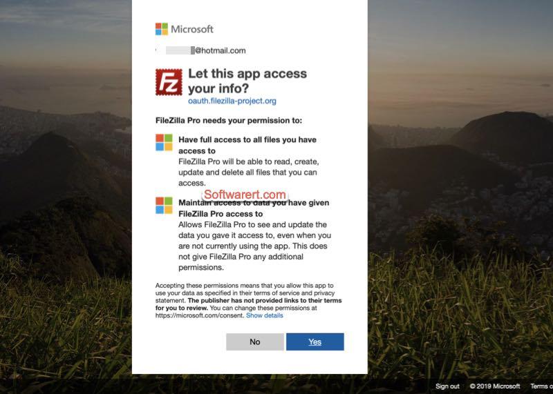 Grant FileZilla Pro the access to your Microsoft Account