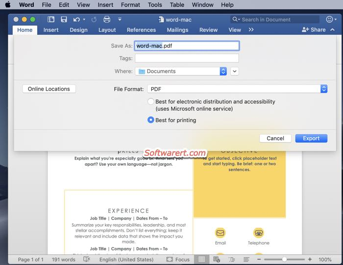 save word document as PDF file from Microsoft Word app on Mac