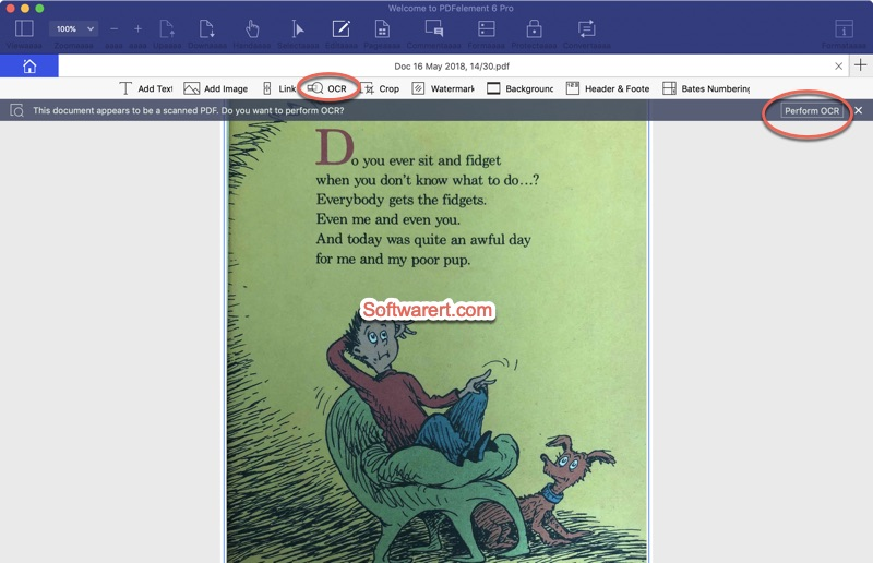 perform ocr scanned pdf using PDF element for mac