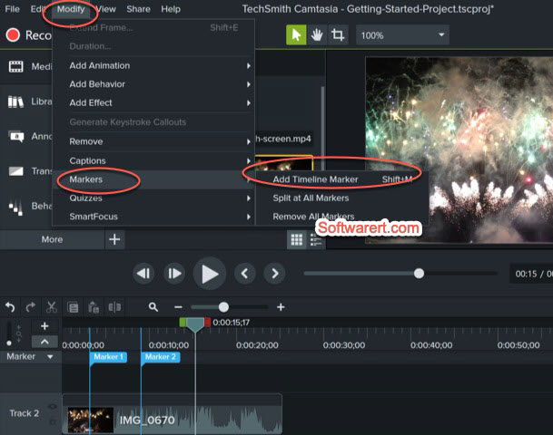 add marker to video camtasia