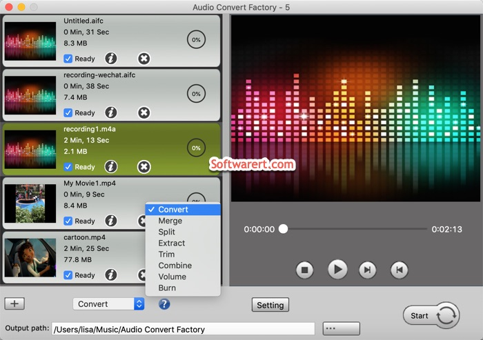 Audio Convert Factory for Mac - choose mode