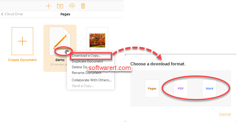 Convert pages to Word, PDF - iCloud