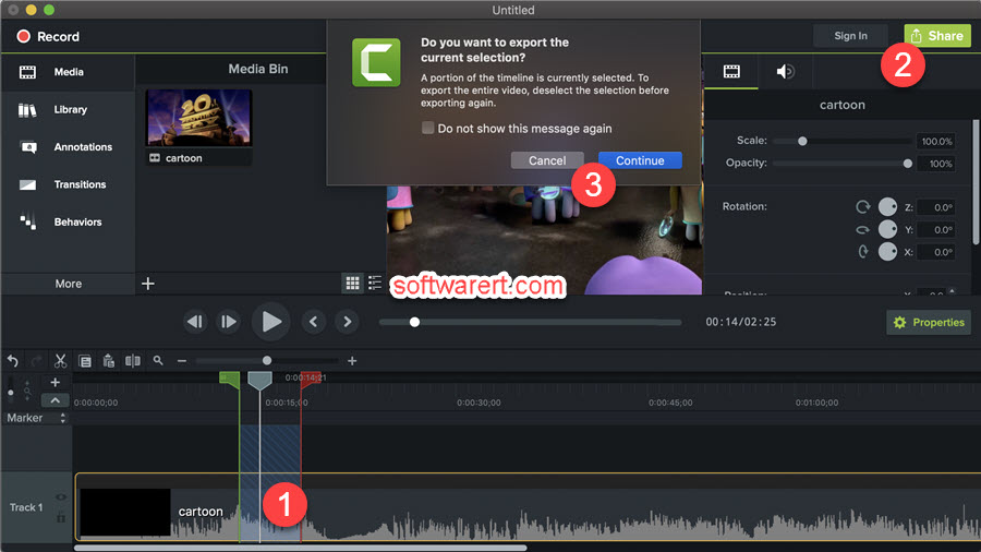 export video selection, portion from Camtasia to mac