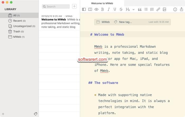 Mweb Markdown Editor for Mac